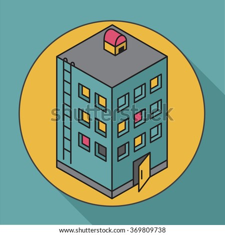 Apartment house. Isometric vector illustration house. Icon - stock vector