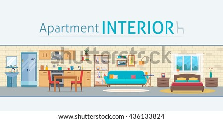 Apartment inside. Detailed modern house interior. Rooms with furniture. Flat style vector illustration. - stock vector