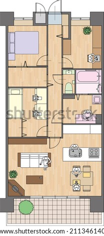 Apartment  Placement of furniture  Japan style - stock vector