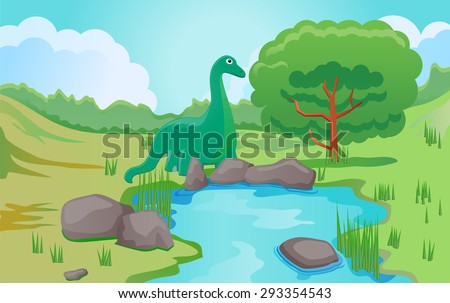 Apatosarus eating tree leaves vector