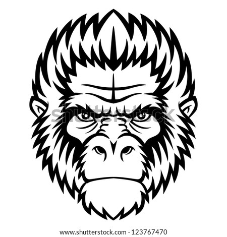 Ape head logo in black and white. This is vector illustration ideal for a mascot and tattoo or T-shirt graphic. - stock vector
