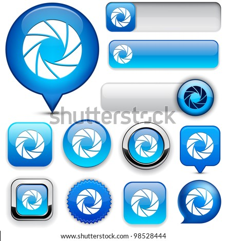 Aperture blue design elements for website or app. Vector eps10. - stock vector