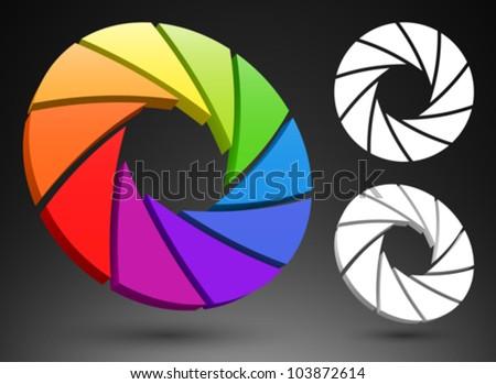 Aperture color wheel 3D logo. - stock vector