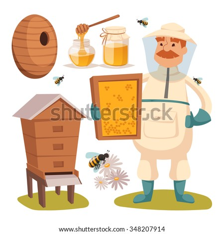 Apiary beekeeper vector illustrations. Apiary  vector symbols. Bee, honey, bee house, honeycomb. Honey natural healthy food production. Man beekeer special costume. Bee, flowers, beehive and wax - stock vector