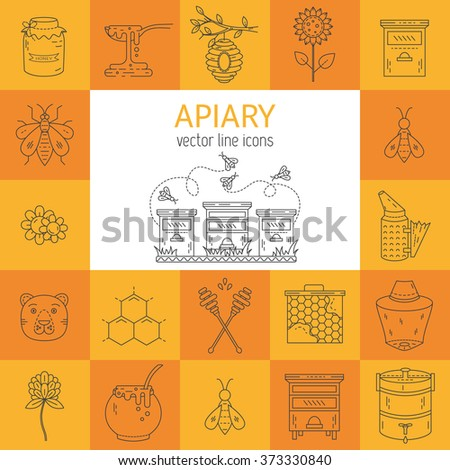 Set Vector Line Icons Apiary Vector Symbols Bee Honey Bee House