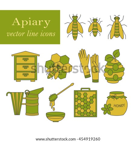 Apiary vector colored thin line icons set. Sweet honey, natural honeycomb, beehive, wax, honeycomb, and other apiary equipment signs.