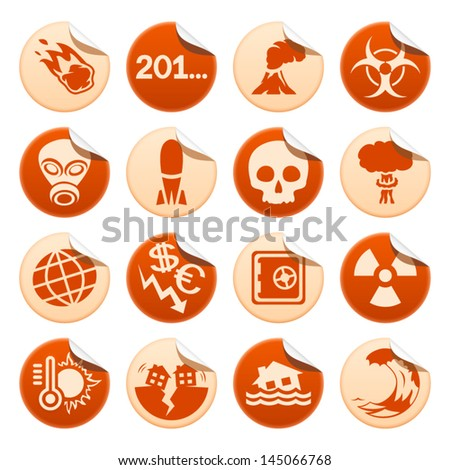 Apocalyptic and natural disasters stickers - stock vector