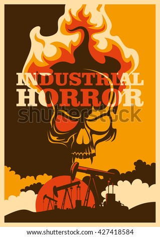 Apocalyptic conceptual retro poster. Vector illustration. - stock vector