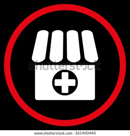 Apothecary vector icon. Style is bicolor flat circled symbol, red and white colors, rounded angles, black background. - stock vector