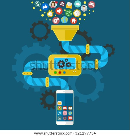App development for mobile phone. Programming and creating application. Vector infographics in flat style.  - stock vector