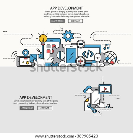 APP Development for website banner and landing page , Flat line design for website element , eps10 vector format - stock vector