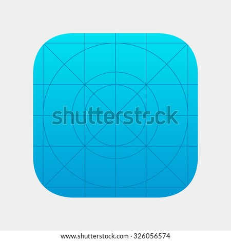 App icon. App icon template. Template application icon with Guidelines. Clean application icon.  Blank application icon for web and mobile systems. App vector icon. App button. Isolated app icon. - stock vector