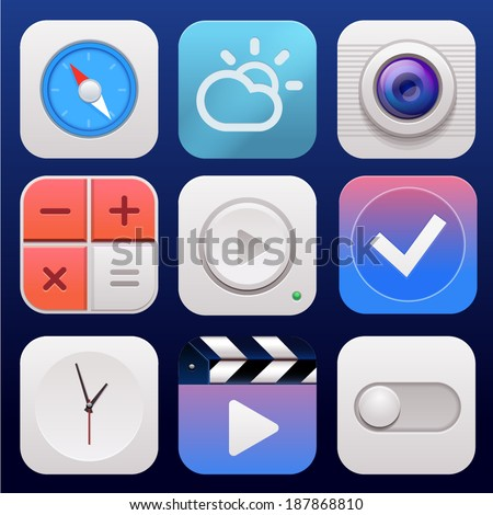 App icon set vector background - stock vector