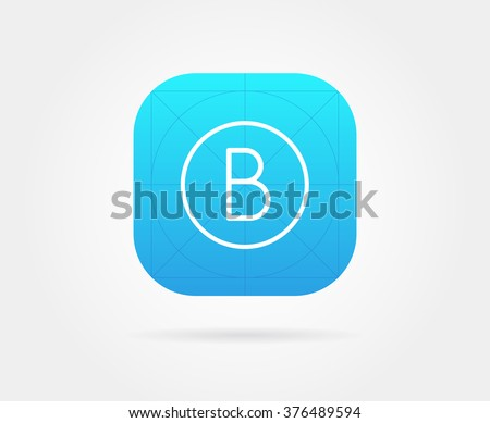 App Icon Template with Guidelines. Vector Fresh Colour. With Font Letter. - stock vector
