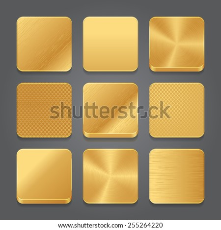 App icons background set. Golden metal button icons. Vector illustration - stock vector