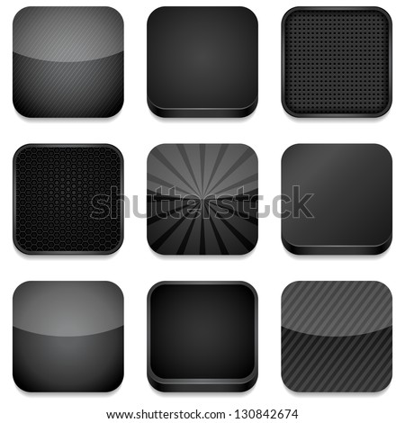 App Icons (Black) - Vector app icons, different styles in black.  Eps10 file with transparency. - stock vector