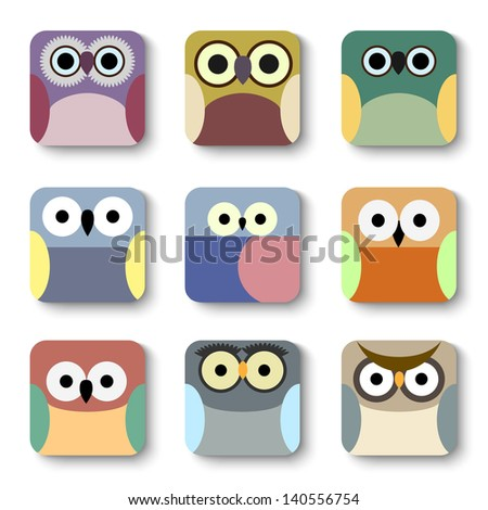 App icons vector set of cute owls - stock vector