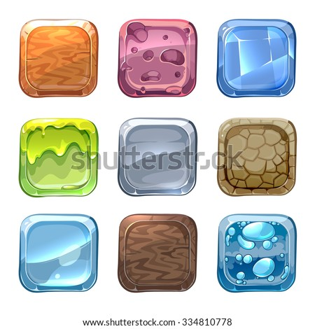 App vector icons with different textures in cartoon style. Ui stone, web design nature, wood material illustration - stock vector