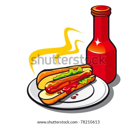 Appetizing hotdog with ketchup on white background. Jpeg version also available - stock vector