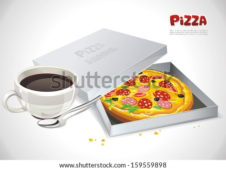 Appetizing pizza Served With A Cup of Coffee on the table. Abstract Elegance food illustration - stock vector