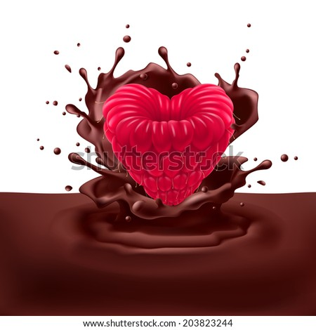 Appetizing raspberry heart dipping into chocolate with splashes - stock vector