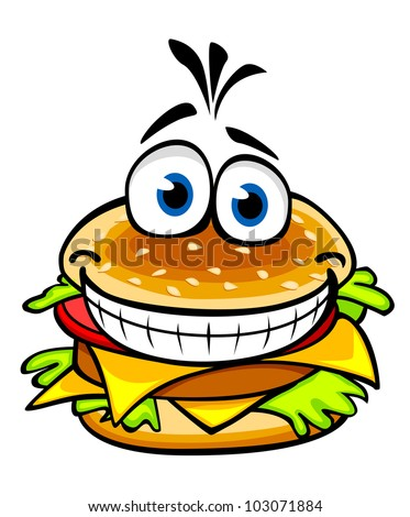 Appetizing smiling hamburger in cartoon style for fast food design, such logo. Jpeg version also available in gallery - stock vector
