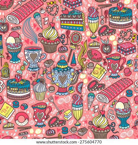 Appetizing tea party texture pattern background with cakes and sweets. - stock vector