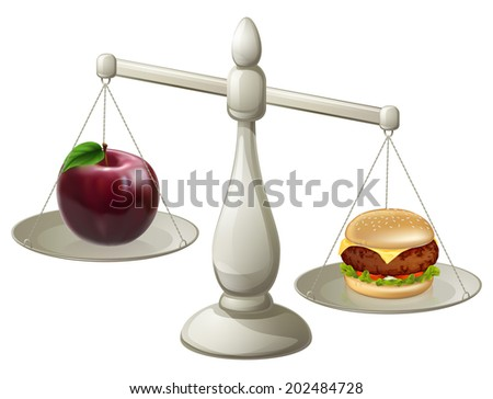 Apple and burger on scales. Healthy eating willpower concept, stocking to a diet can be hard, the burger is looking more appealing than the apple - stock vector
