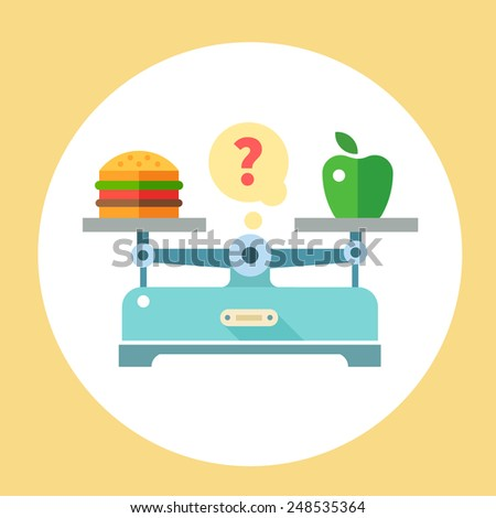 Apple and hamburger on scales. Diet. Healthy food. Vector flat illustration - stock vector