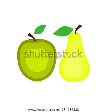apple and pear icons - stock vector