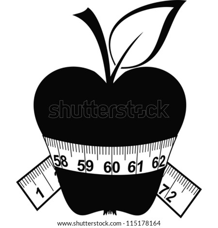 Apple and tape isolated on a white background. Vector Illustration - stock vector