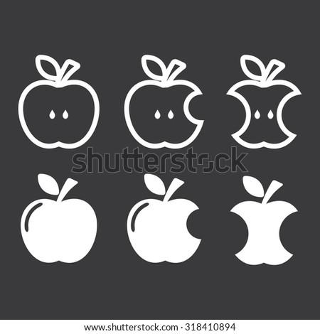 Apple, apple core, bitten, half vector icon set . Vector illustration - stock vector