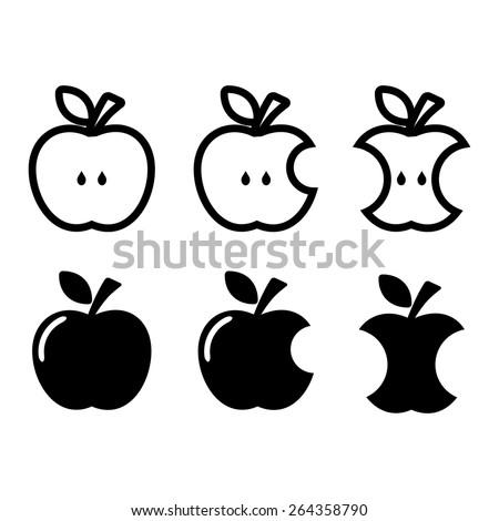 Apple, apple core, bitten, half vector icons - stock vector