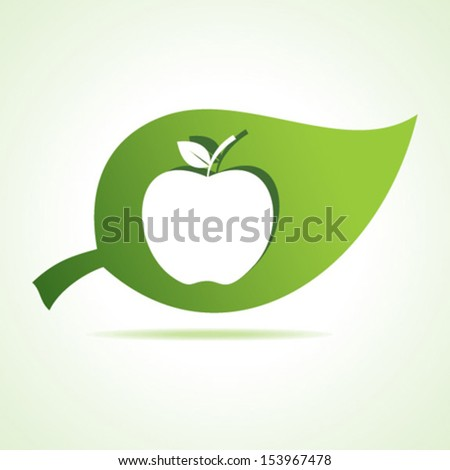 Apple at leaf stock vector - stock vector
