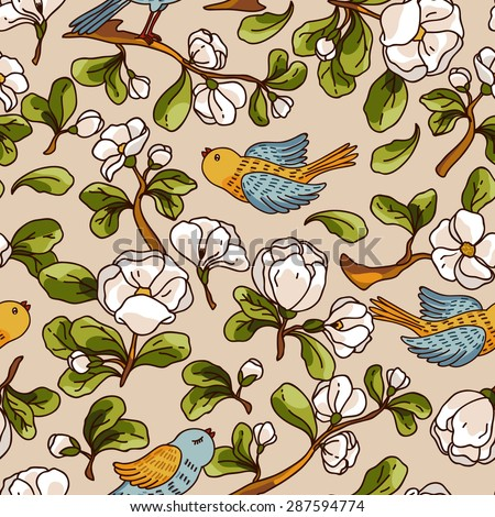Apple blossom seamless pattern with birds. Beautiful vector hand drawn texture. Romantic background for web pages, wedding invitations, textile, wallpaper. Vector, Isolated on white background. - stock vector