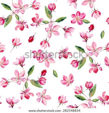 Apple blossom watercolor seamless pattern. Beautiful vector hand drawn texture. Romantic background for web pages, wedding invitations, textile, wallpaper. Vector, Isolated on white background.