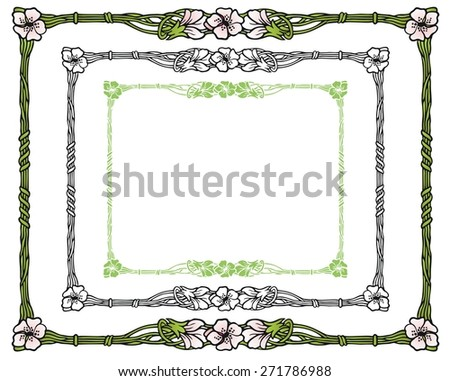 Apple blossoms in an art nouveau style border - stock vector