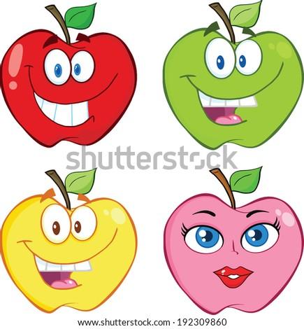 Apple Cartoon Characters. Vector Collection Set - stock vector