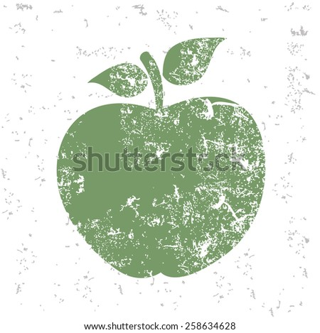 Apple design on old paper,grunge vector - stock vector
