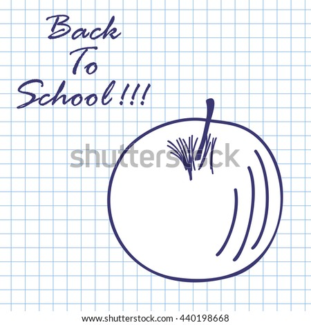 Apple. Doodle sketch on checkered paper background. Vector illustration. - stock vector