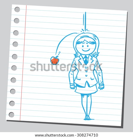 Apple falling down on businesswoman's head  - stock vector