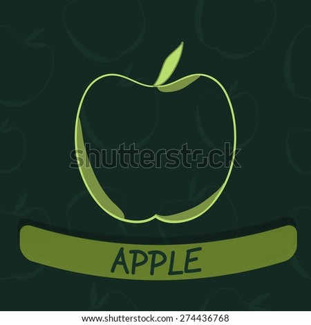 Apple Flavour (flavor) Seal on Green Seamless Background - Vector Illustration - stock vector