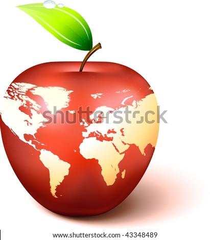 Apple globe world map original vector vectores en stock 43348489 apple globe with world map original vector illustration apple illustration gumiabroncs Choice Image