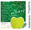 apple icon, diet concept, freehand drawing with lettering (grunge vector) - stock vector