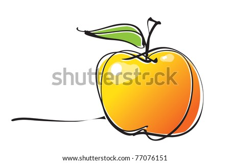 apple icon, freehand drawing linear style, vector - stock vector