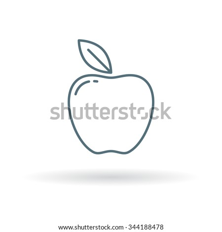 Apple icon. Fruit sign symbol. Thin line icon on white background. Vector illustration.