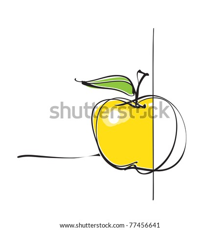apple icon, part colored - part not (vector) - stock vector