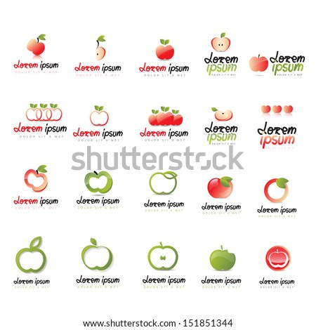 Apple Icons Set - Isolated On White Background - Vector Illustration, Graphic Design Editable For Your Design. Apple Logo - stock vector