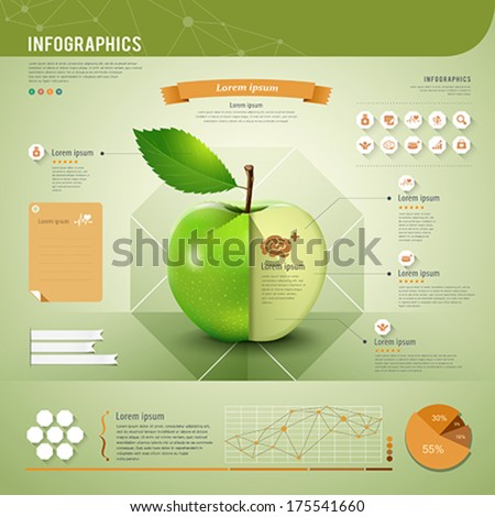Apple infographics template green and orange design background, vector illustration - stock vector