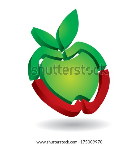 Apple isolated abstract icon template - stock vector